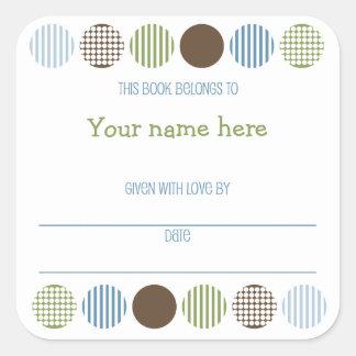 Baby Boy Mod Polka Dot book plate name bookplate