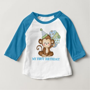 doodlesgifts Baby boy monkey first Birthday t-shirt