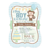 Baby Boy Monkey, Pastel Baby Shower Invite