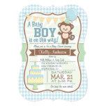Baby Boy Monkey, Pastel Baby Shower Invite