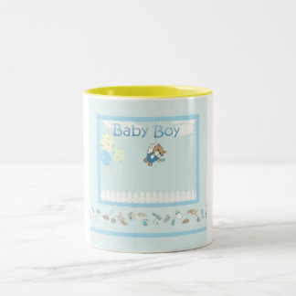 Baby Boy Mug, Customizable Two-Tone Coffee Mug