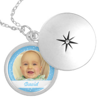 Baby Boy Name and Photo Personalized Blue Necklace
