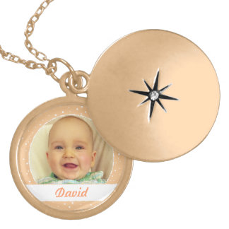 Baby Boy Name and Photo Sandy Color Necklace