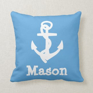 Baby Boy Nautical Blue Birth Stats Pillow