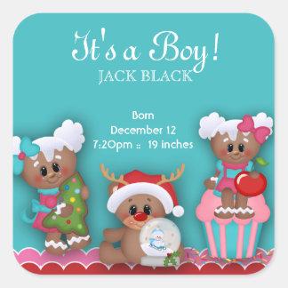 Baby Boy Newborn Stickers Christmas Gingerbread