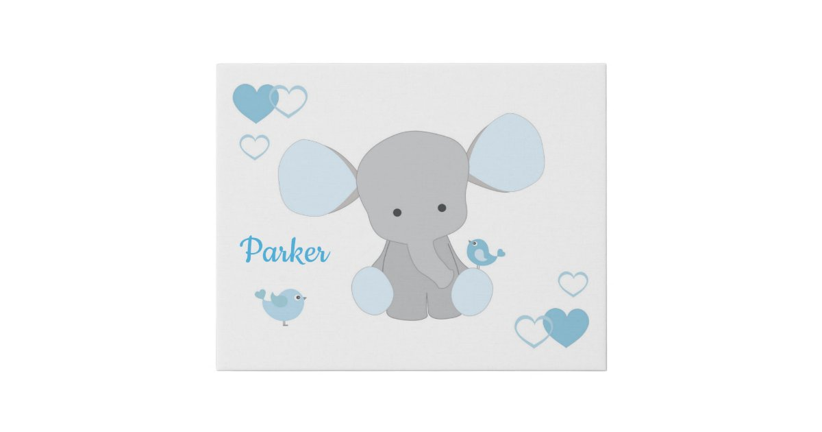 Baby Boy Nursery Blue Gray Elephant