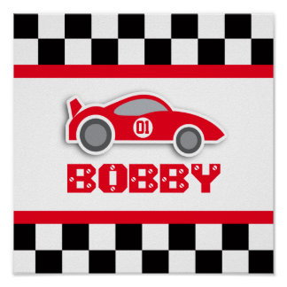 Baby boy nursery red racing car poster