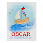 Baby boy nursery sailing boat poster