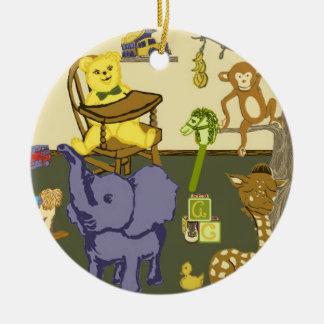 baby boy nursery toys on round ornament