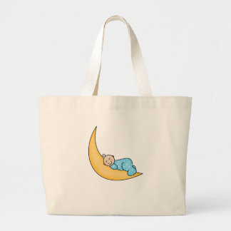 Baby Boy on Moon Tote Bags