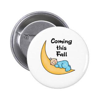 Baby Boy on Moon Fall Pinback Button