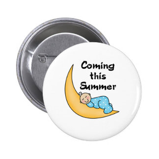 Baby Boy on Moon Summer Pinback Button