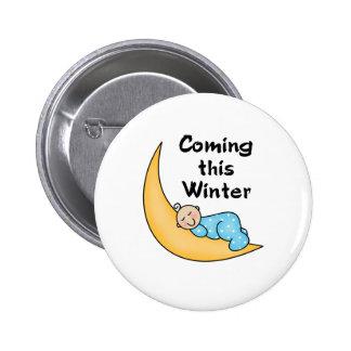 Baby Boy on Moon Winter Pinback Button