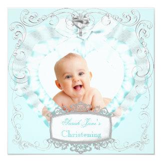 Baby Boy or Girl Blue Christening Baptism Cross Custom Invites