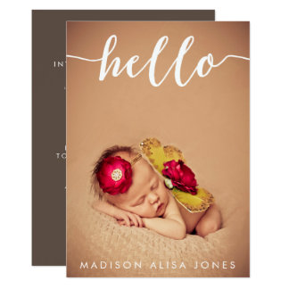 Baby Boy or Girl Hello Photo Birth Announcements