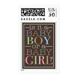 Baby Boy or Girl Modern Brown Blue Pink Postage