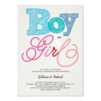 Baby Boy or Girl Pink Blue Gender Reveal Party 5x7 Paper Invitation Card