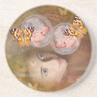 Baby boy or girl twins beverage coasters