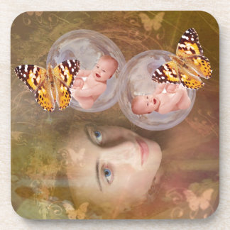 Baby boy or girl twins drink coasters