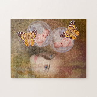 Baby boy or girl twins gift puzzle