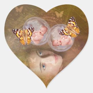 Baby boy or girl twins heart sticker