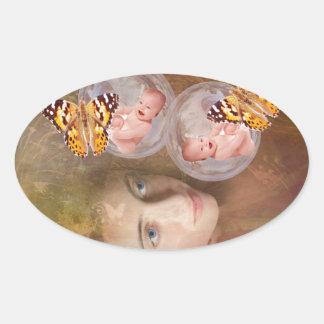 Baby boy or girl twins oval sticker