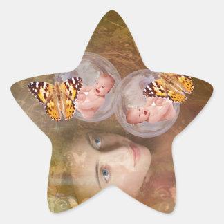 Baby boy or girl twins star sticker