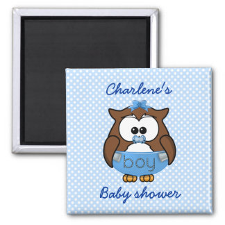 baby boy owl 2 inch square magnet