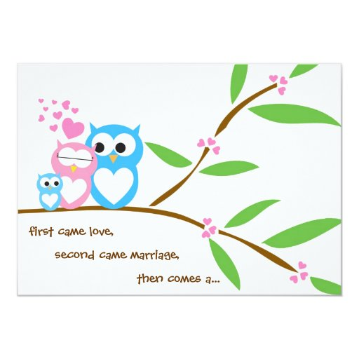 "Baby Boy Owl Baby Shower Invitation 5"" X 7"" Invitation Card"