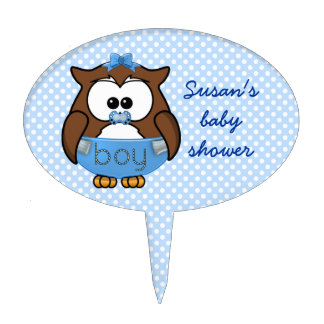 baby boy owl cake topper