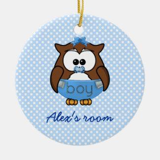 baby boy owl ceramic ornament