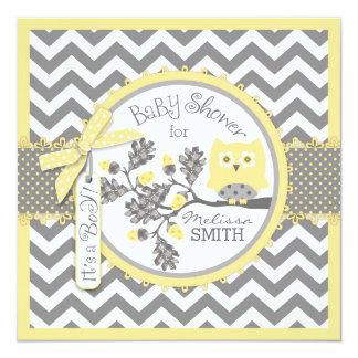 Baby Boy Owl Chevron Print Baby Shower Card