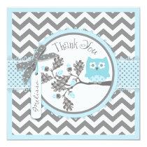Baby Boy Owl Chevron Print Thank You Card