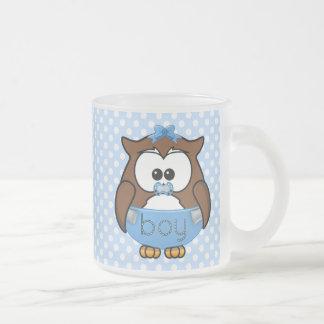 baby boy owl frosted glass coffee mug