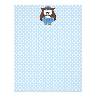 baby boy owl letterhead template