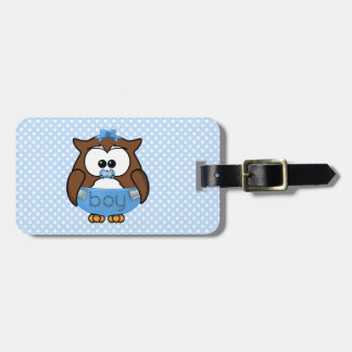 baby boy owl luggage tag