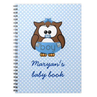 baby boy owl notebook