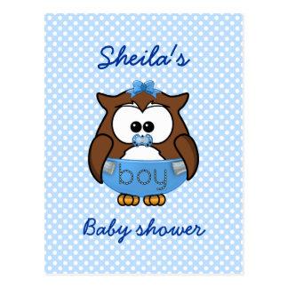 baby boy owl postcard