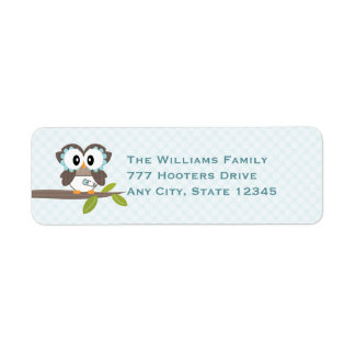 Baby Boy Owl Return Address Labels