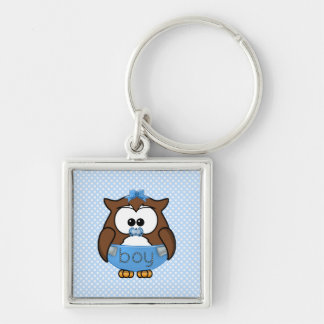 baby boy owl Silver-Colored square keychain