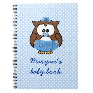 baby boy owl spiral notebook