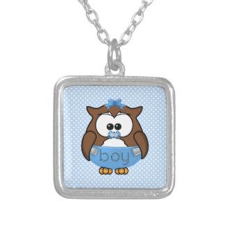 baby boy owl square pendant necklace
