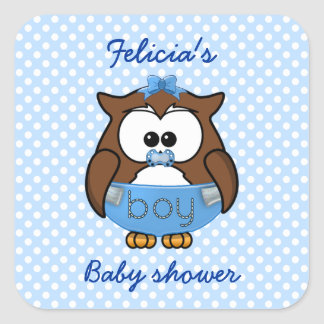 baby boy owl square sticker