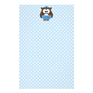 baby boy owl stationery paper