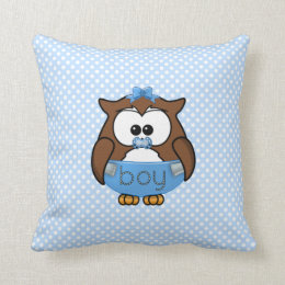 baby boy owl throw pillow