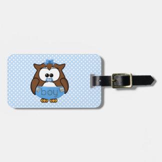 baby boy owl travel bag tag