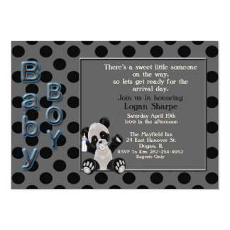 Baby Boy Panda Bear Baby Shower Invitation