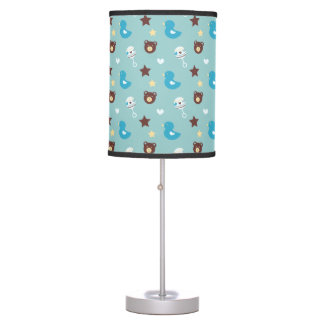 Baby Boy Pattern with bears, ducks, and rattles Desk Lamp