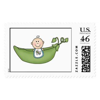 Baby Boy Pea in the Pod Postage Stamp