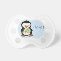 Baby Boy Penguin Pacifier To Personalize at Zazzle